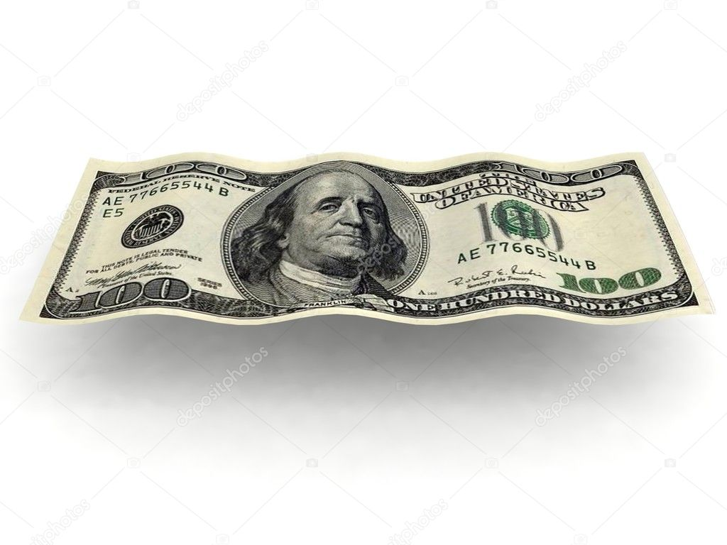 3D Vieew der wellenförmigen Dollarschein — Stockfoto ...