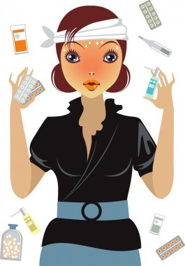 Stressed girl suffering from flu, forced to drink lot of drugs clip art vector
