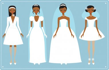 Four brides wearing wedding dresses
