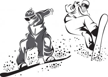 Black and white drawing of jumping snowboarders stock vector