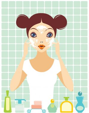 Girl is washing her face