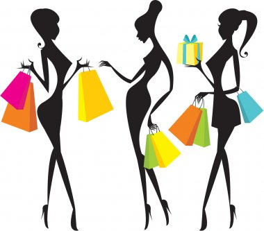 Shopping girls silhouettes clip art vector