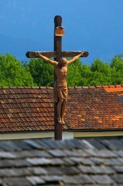 Wood crucifix in Austria