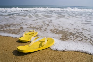 Beach slippers on a sandy beach, summer