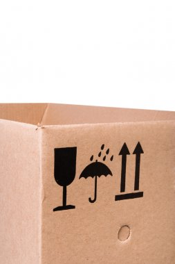 Cardboard box with mail symbols