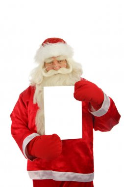 Christmas Santa Claus with sign-post . Isolated on white stock vector