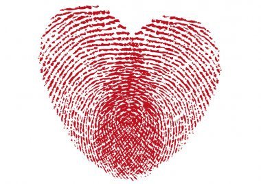 Fingerprint heart, vector