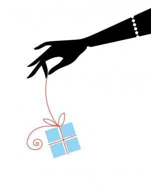 Hand with gift box, vector