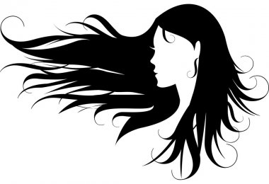 Woman with curly black hair, vector stock vector