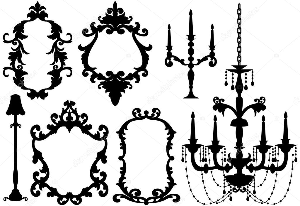 Picture frames and chandelier, vector — Stock Vector © beaubelle ...