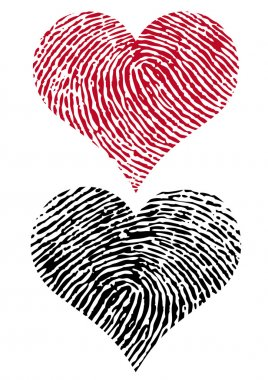 Two fingerprint hearts, vector