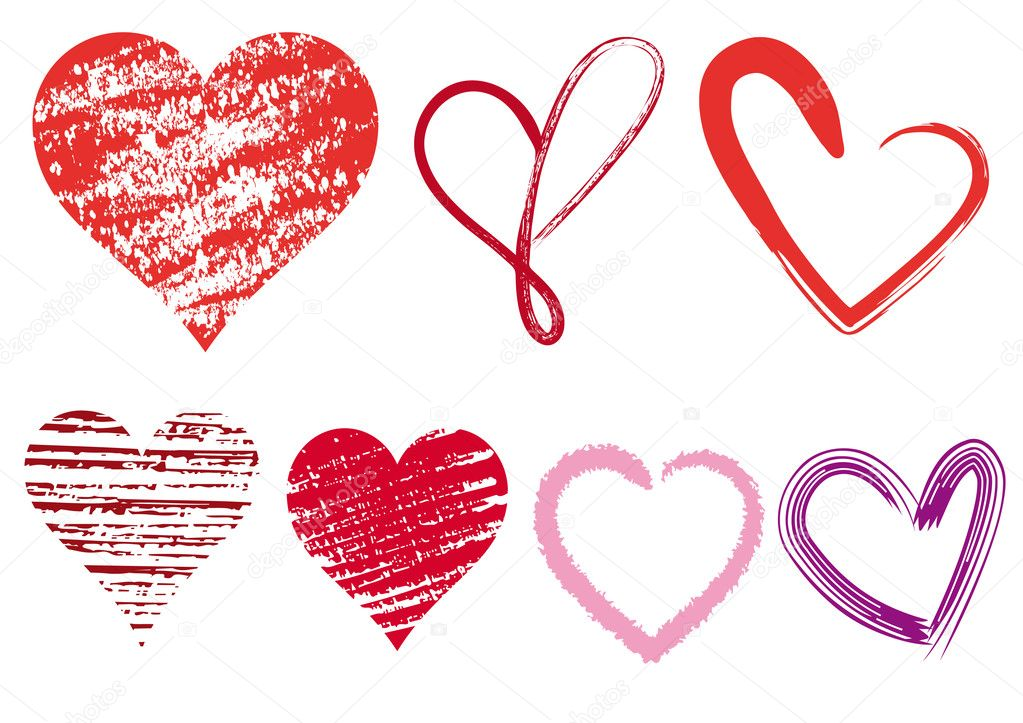 Set of scribble hearts with grungy texture, vector clipart vector
