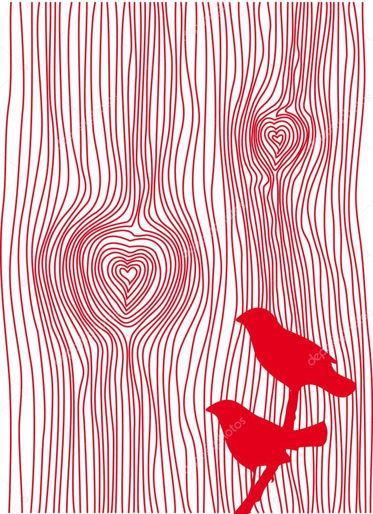 Wood grain hearts, vector