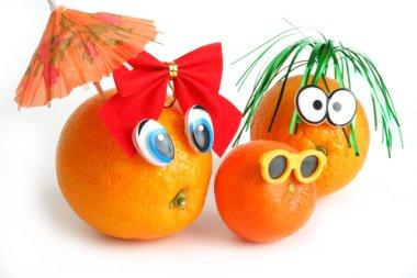 Funny oranges with mandarin