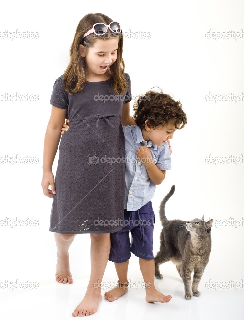 Two kids and a cat