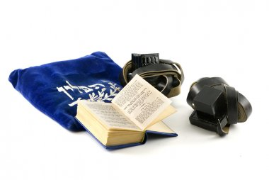 Tefillin - phylacteries worn by Jewish men for morning prayers, Siddur - Jewish prayerbook and bag isolated on white stock vector