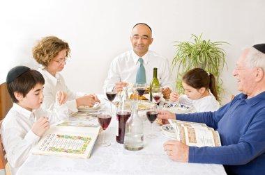 Jewish family in seder celebrating passover stock vector