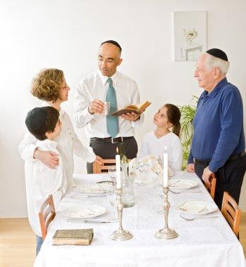 Friday evening Jewish family celebration stock vector