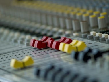Professional audio mixing console.