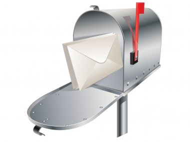 Vector metal mailbox with envelopes