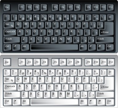 Black and white vector pc keyboard