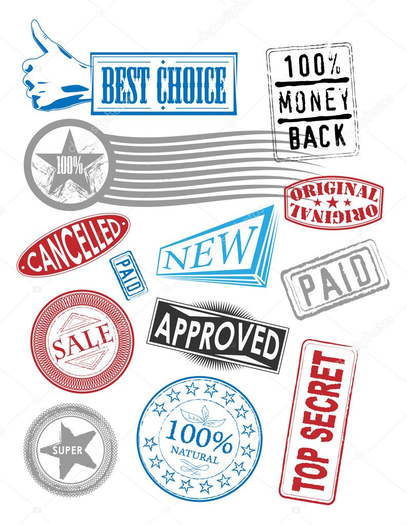 Set of vector stamps with various tags