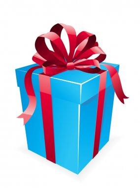 Beautiful blue gift box with ribbon