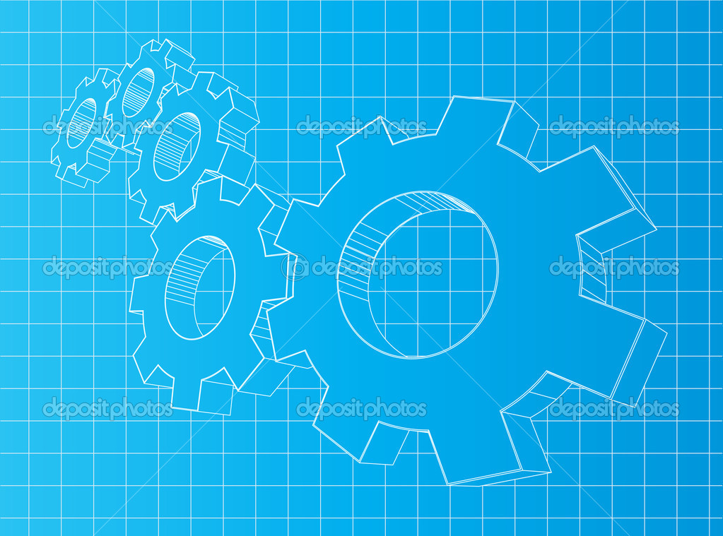 Blueprint background with 3D gears. Sol