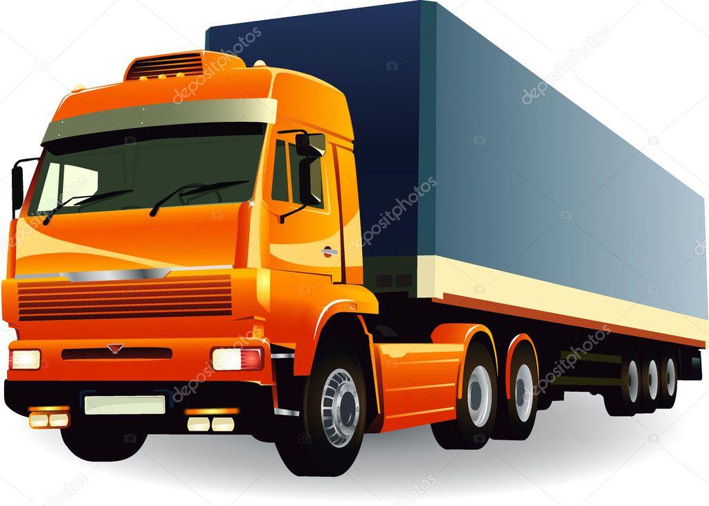 Great detail cargo truck vector 01