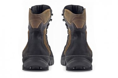 Rear view pair of Warm leather boots