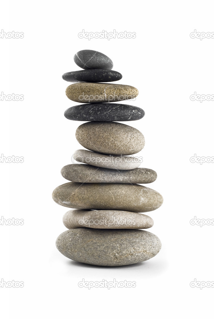 Tall Balanced stone stack or tower