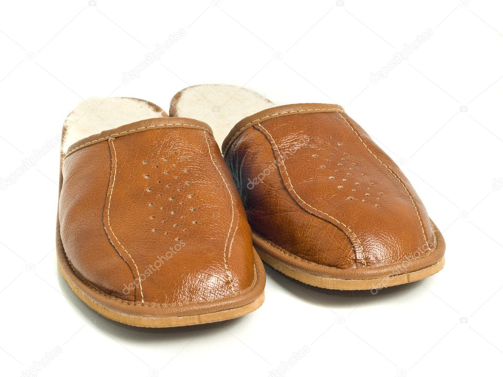 Brown mens house slippers