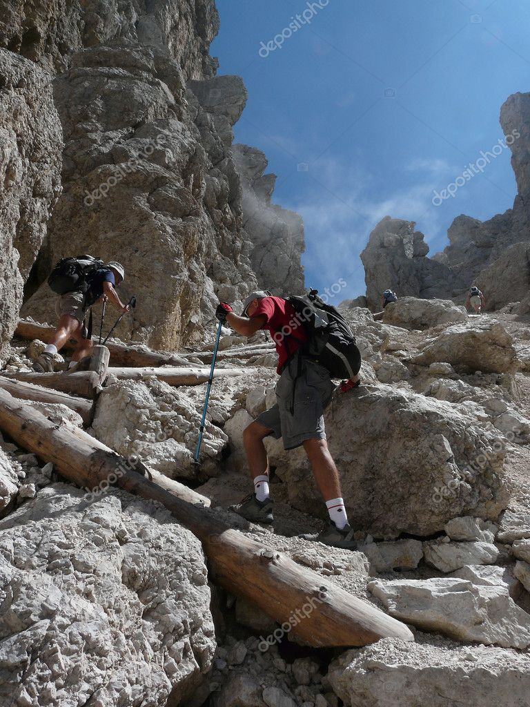 Hikers in the Dolomites