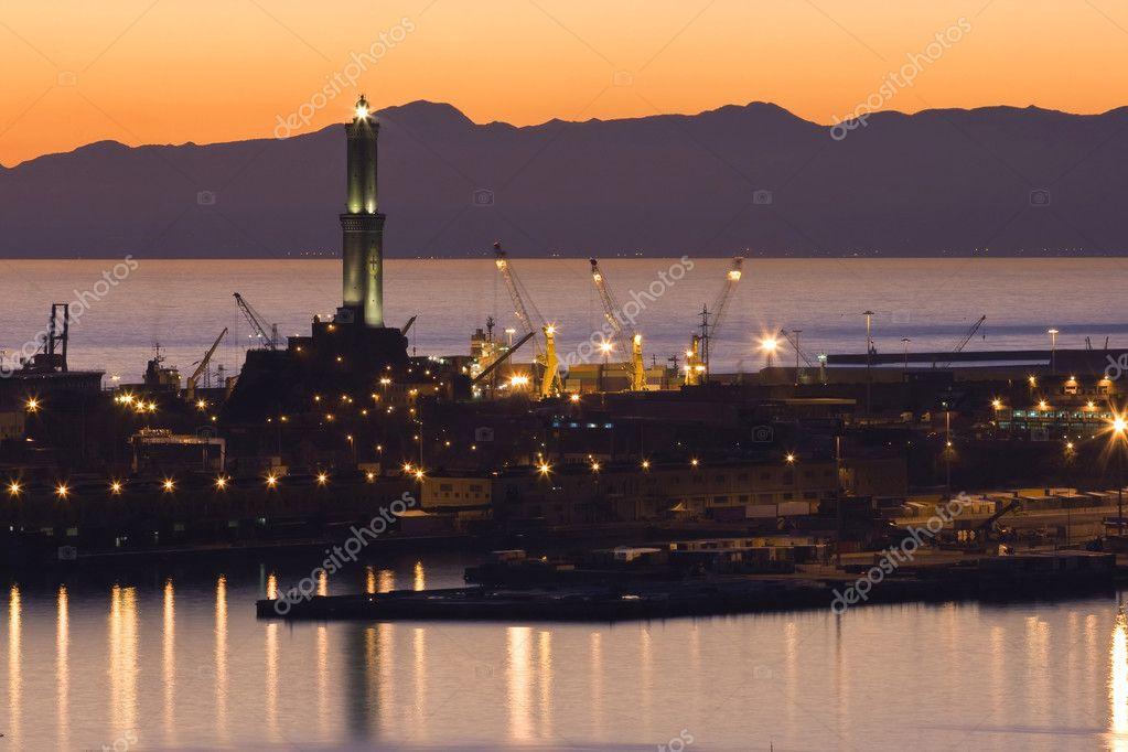 Port of genova at sunset