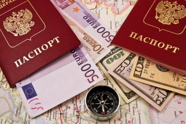 Passport with money, a map and compass