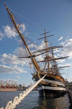 Ancient sailing vessel moored