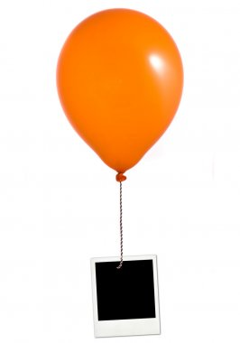 Orange balloon and photo frame