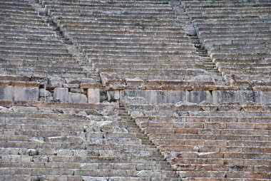 Closeup view of Greek ancient theatre