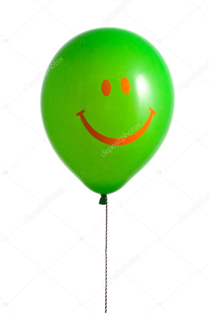 Green balloon with smile