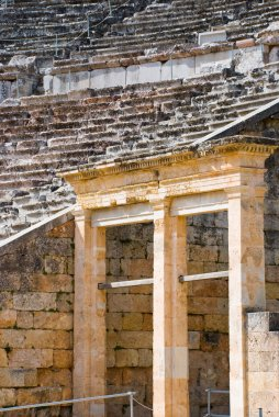 Closeup view of Greek ancient theater