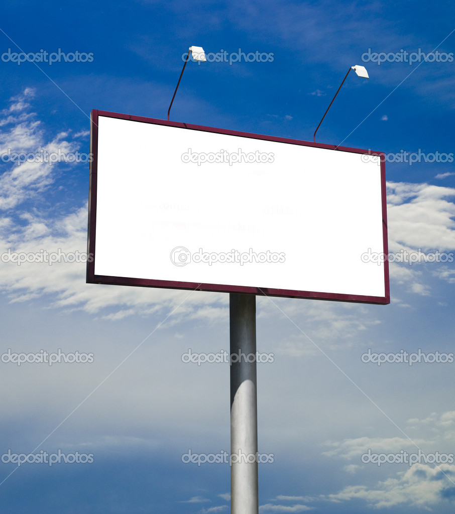 Blank big billboard over blue sky