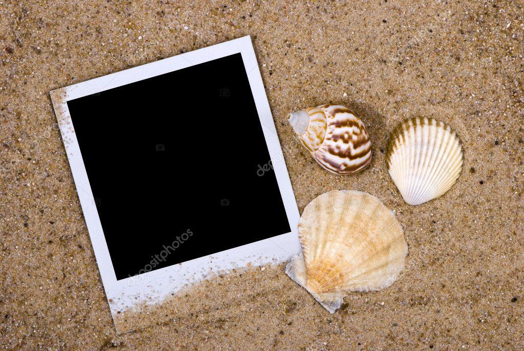 Photo frame with sea shells