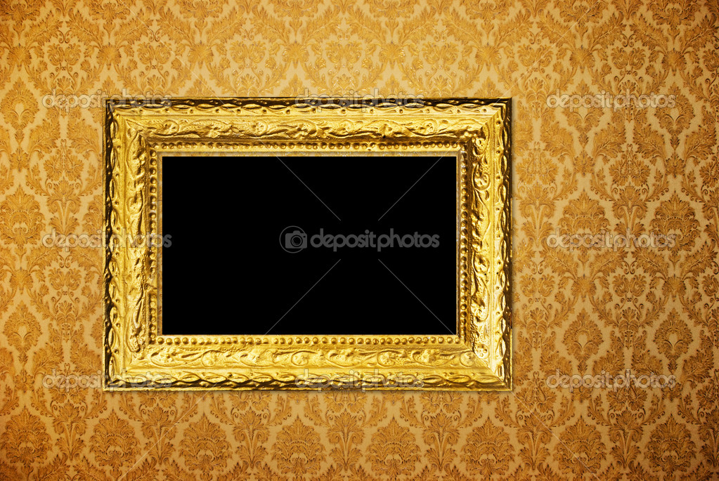 Vintage Frame Over Golden Wallpaper Stock Photo Hintaualiaksey