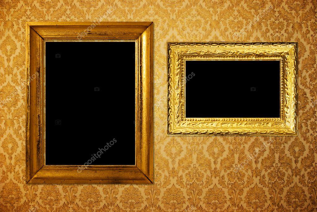 marco Vintage sobre papel pintado de oro — Fotos de Stock ...