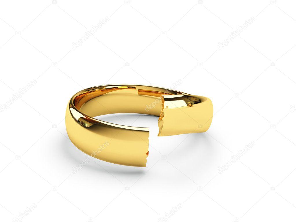 Broken Gold Wedding Rings Stock Photo