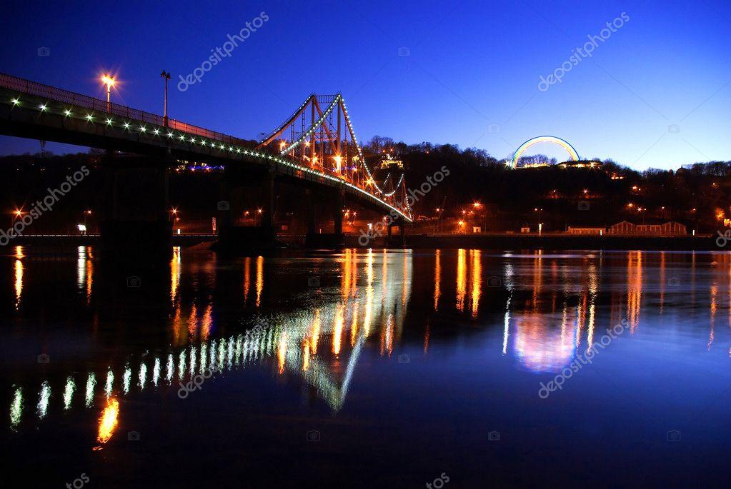 Foot bridge cross the Dniper river