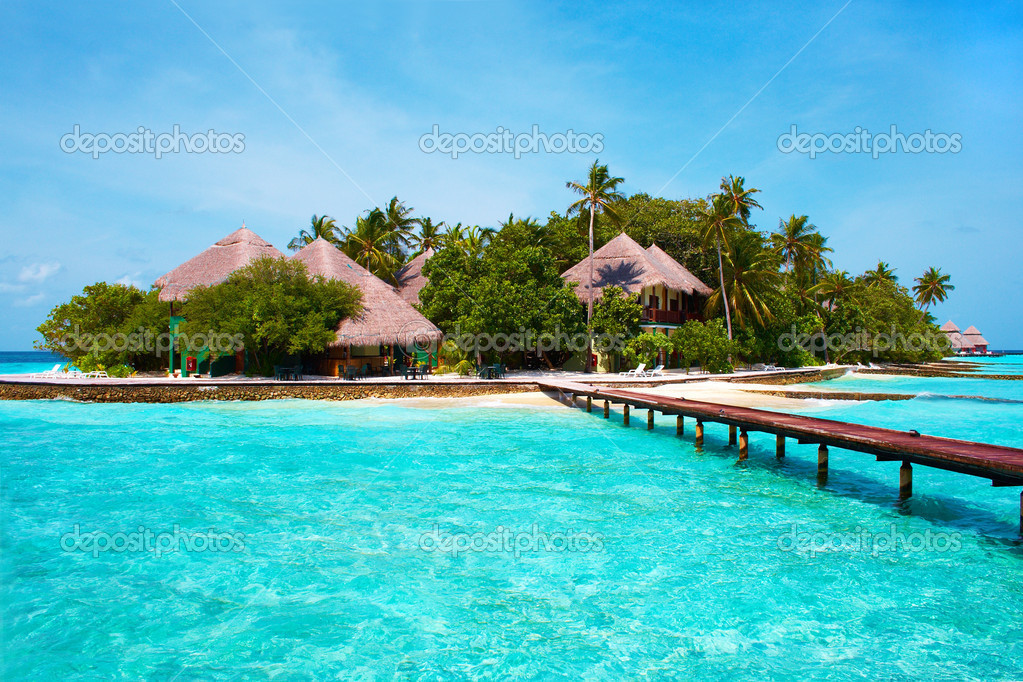 Island of Paradise. White sand beaches with coco-tree and crystal blue water. Maldives. Luxury holidays. High contrast.