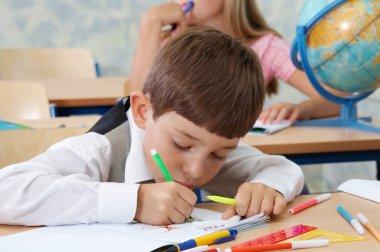 Schoolboy in concentration