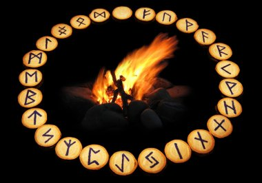 Runes around fire on black background