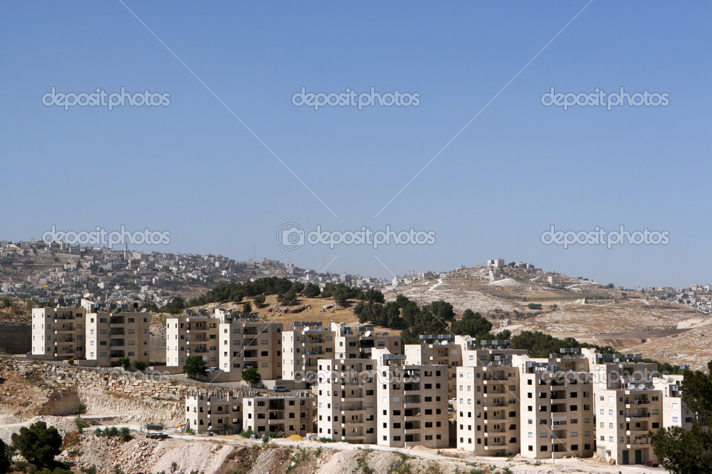 Newly constructed apartments along a hilltop in the West Bank of Israel.